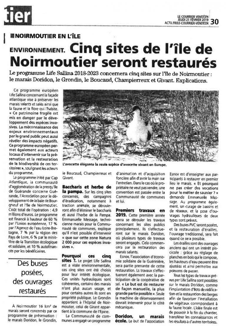 Courrier vendéen - programme travaux île de Noirmoutier