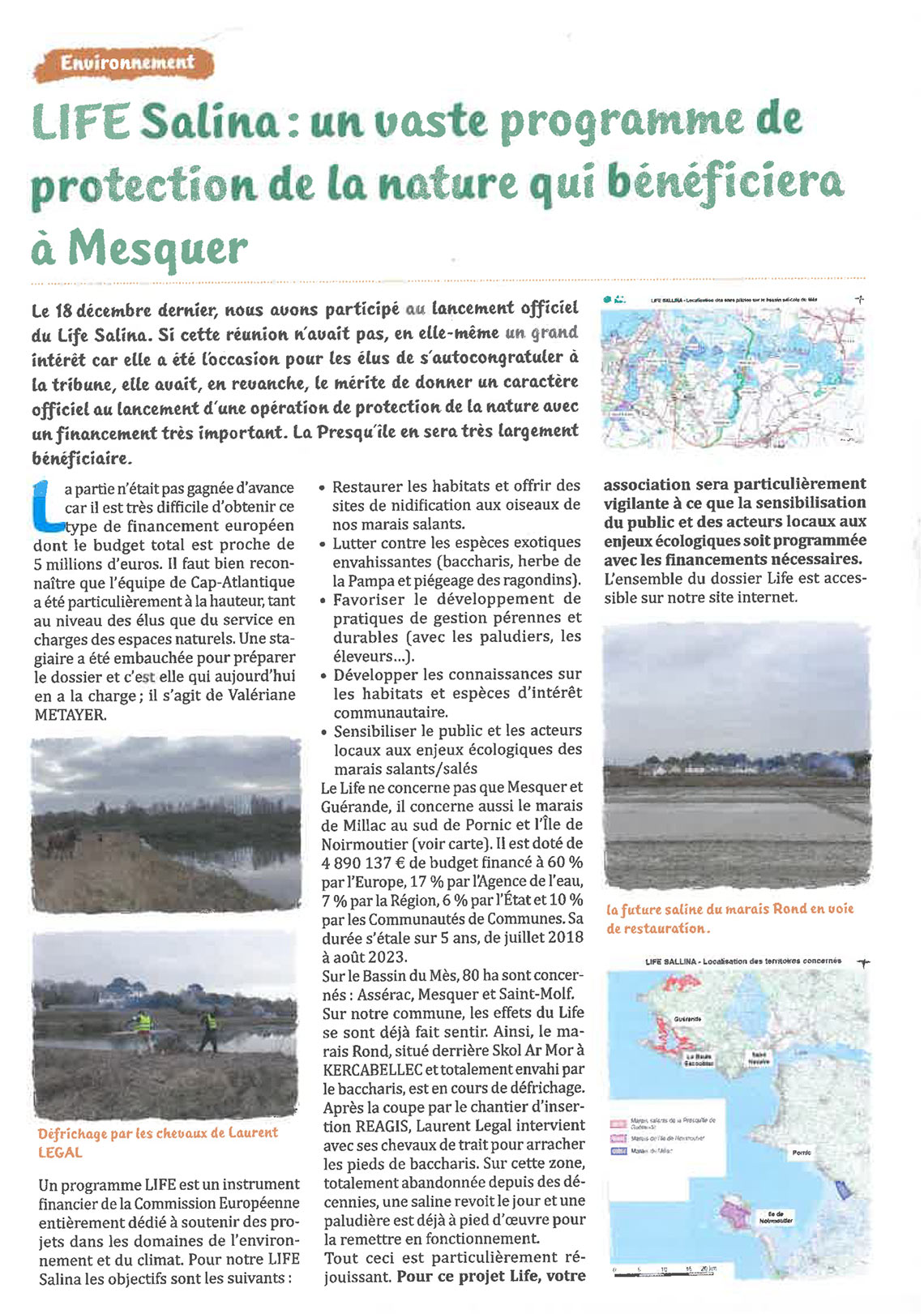 Bulletin d'information des Amis des sites de Mesquer - LIFE SALLINA sur la commune de Mesquer