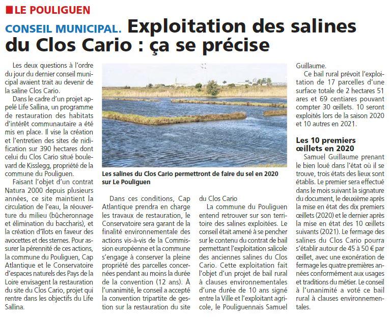 Echo de la Presqu'île - Clos Cario - délibération Commune Convention + BRCE