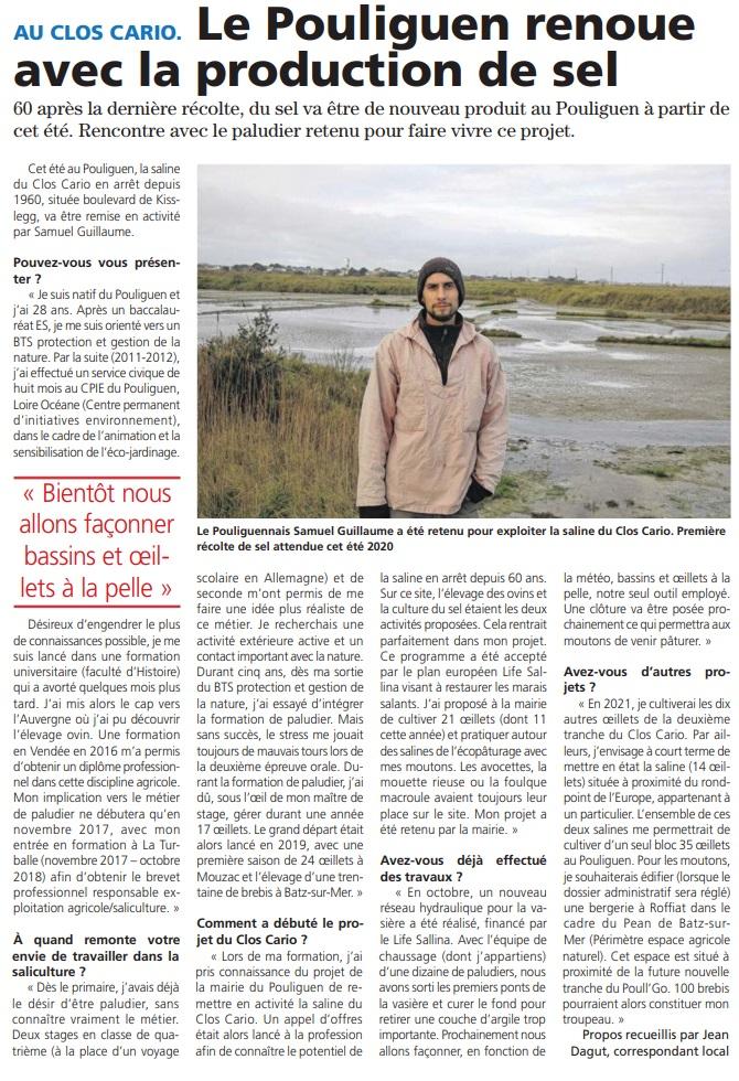 Echo de la Presqu'île - Nouveau paludier au Pouliguen (Clos Cario)