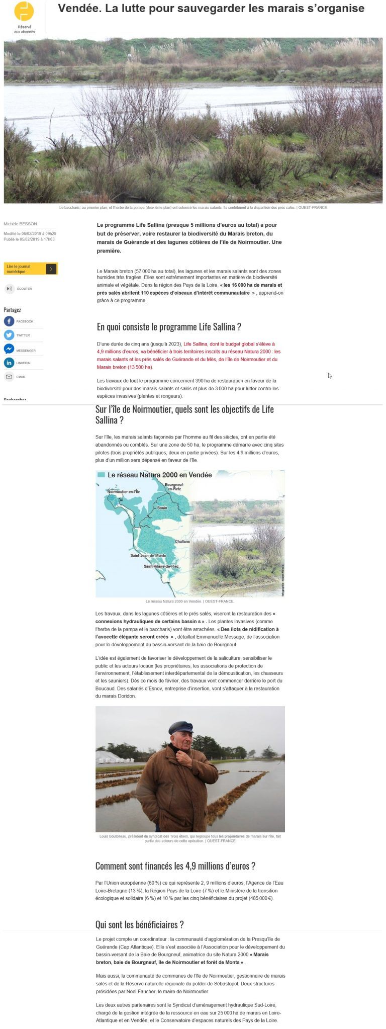 Ouest France - Conférence de presse - zoom LIFE sur Noirmoutier