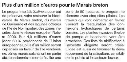 Plus d'un millon d'euros pour le Marais breton