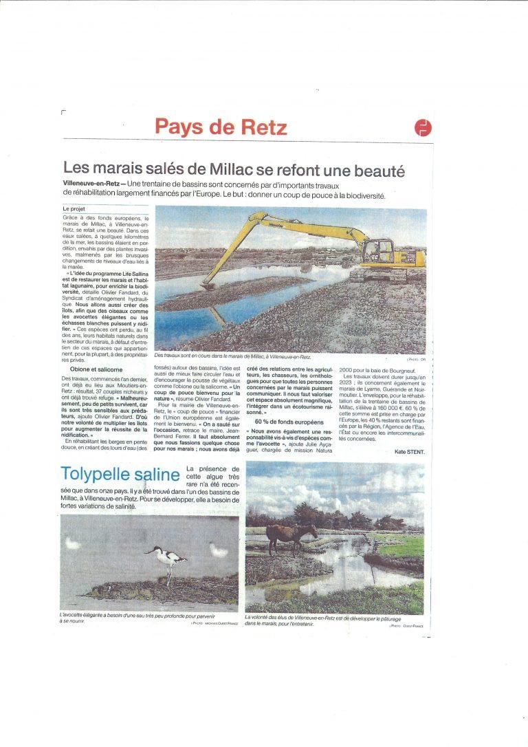 Ouest France - travaux dans le marais de Millac 2020