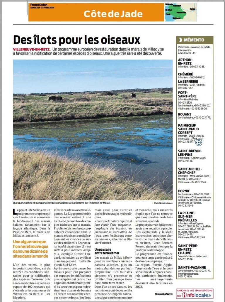 Presse Océan Travaux 2020 sur le marais de Millac
